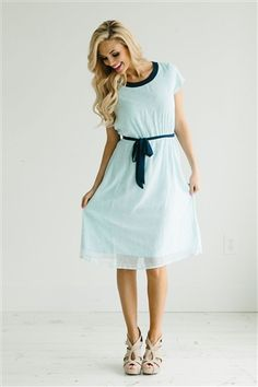Light Blue Navy Modest Dress Bridesmaids Dress, Church Dresses, dresses for church, modest bridesmaids dresses, trendy modest dresses, modest womens clothing, affordable boutique dresses, cute modest dresses.  https://www.instagram.com/modesteden/