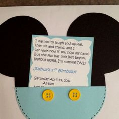 1st birthday invite! This is so cute! I wonder if i could do a tigger one like this....