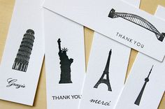 Great letterpressed bookmarks from different countries