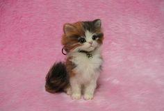 Needle Felted Fluffy Calico Kitten Miniature by LilyNeedleFelting, ¥50000