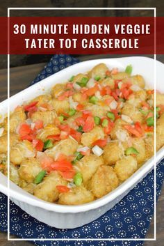I am a busy mom, but my kids deserve a delicious and healthy meal. Problem is, my kids aren't crazy about vegetables. With the new #VeggieSwap-In's products from @greengiant, I created this 30 Minute Hidden Veggie Tater Tot Casserole, The kids LOVE it! #ad