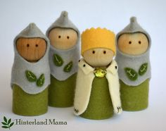 King & Knight peg doll set - Playset  Wool felt dolls Royal Guard. Waldorf inspired by Hinterland Mama Australia on Etsy, $39.62