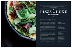 exploring the idea of how i want my recipes to be laid out within my magazine, having a nice tastey looking image within one spread and then an elegant and formal theme of text aligned on the other half- very classic, elegant and modern on the eye- draws you in, captures the healthy food looking extremly tastey and great levels of hierarchy within the headings and text itself