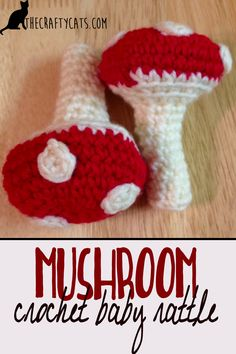 Free crochet mushroom rattle pattern for to fit the woodland creature nursery theme. Written pattern for a quick, beginner friendly project.