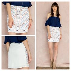 Merinda Embroidered Mini Skirt Beautiful skirt with Aztec detail design embroidered on the front. Skirt is two layers. This skirt also fits on the smaller size of a medium. Brand is Dina Be purchased at Francesca's! Francesca's Collections Skirts Mini