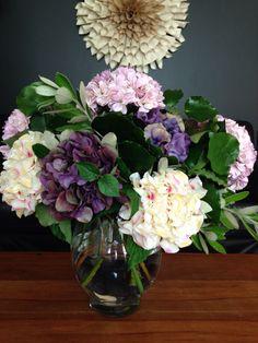 nice combo: silk flowers fresh greenery