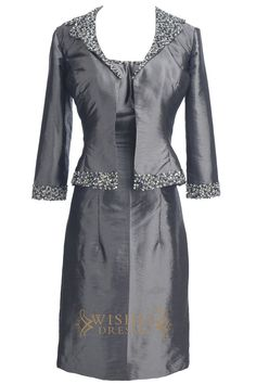 Look charming at your Formal, bridal party in this stunning short taffeta dress,straps with beads and zipper back.Long Sleeves jacket included . Neckline:Straps Length:Knee length Details:Ruched,Beads