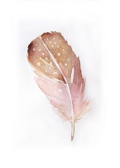 Watercolor painting of Feather-Art original-Feather in peach and gold 7,5/11 inches on Etsy, Sold