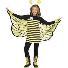 Bee Sweet As Honey This Halloween In This Adorable Bumblebee Costume! Ensemble Includes Yellow And Black Striped Dress With Long Black Sleeves Cuffed In Yellow Fuzzy Material And Attached White Daisy. Also Included Are The Halter Soft Wings With Thumb Lo Bee Halloween Costume, Halloween Costumes For Girls, Baby Costumes, Children Costumes, Kid Halloween, Usa Costume, Sofia Costume, Morris Costumes, My Honey