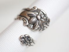 Antique Spoon Ring, Silver Bee Ring, jewelry gift,Silver Spoon Ring,Antique Ring,Silver Ring,Wrapped,Adjustable,Bridesmaid. by emmalocketshop on Etsy https://www.etsy.com/listing/150763498/antique-spoon-ring-silver-bee-ring