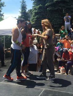 Jennifer Lopez showed off her dance moves when she led a Zumba class with Zumba instructors Samuel Salazar and Shahidah Ansari at the Montefiore Health Fair in the Bronx!