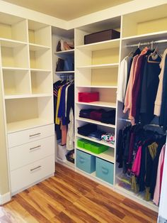 A white melamine design maximizes the corners of this walk-in closet while creating stylish contrast with the hardwood floor. Luxury Closet, Custom Closets, Humble Abode, Dream Closets, Contemporary Home Decor, Closet Organization, Closet Space, Walk In Closet, Room