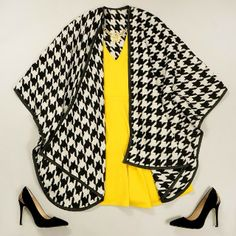 Yellow + Houndstooth Inspiration colors trends #textures #knitting #fashion #winter #fall