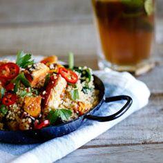 Whole-wheat Couscous salad with haloumi & roasted sweet potato