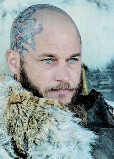 Ragnar Lothbrok; Vikings Season 4. LOVE the way this season is shot with the blue highlighted in scenes to match those AMAZING blue eyes. sigh.
