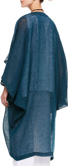 Linen/polyamide. . Open, cascading front. Long sleeves. Falls past knee. Made in England..