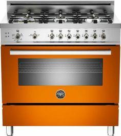 """Bertazzoni PRO366GASAR Orange 36"""" Pro Style Gas Range Natural Gas"""