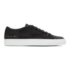 1b794876de2f99 COMMON PROJECTS Black Waxed Suede Tournament Low Sneakers.  commonprojects   shoes