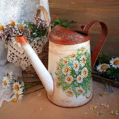 Watering can decoupage,galvanized watering can, metal watering can, rustic style watering can,  camomile and forget-me-not, flower vase