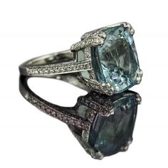 """Santa Maria"", 9.8 carat cushion cut aquamarine with 1.6 carats brilliant cut pave diamonds  #fine #jewellery"