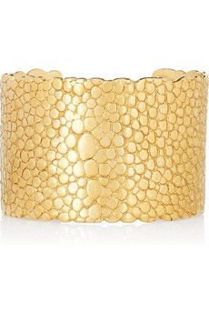 Yves Saint Laurent Gold-plated stingray-effect cuff | NET-A-PORTER