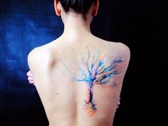 Beautiful tree watercolor tattoo on back for girl - tree, art, painting, pastel