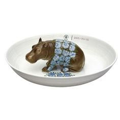 """NYMPHENBURG (Germany) -- hand-painted porcelain """"Bowl with Hippopotamus"""". . . one of a series of Animal Bowls designed by Hella Jongerius, who selected the animal figures from the Nymphenburg archives, and used  decorations  inspired by other pieces from the Nymphenburg archives."""