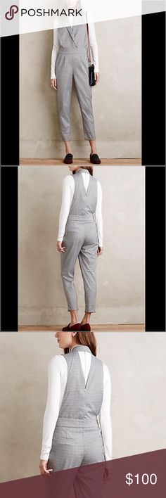 "Anthropologie Plaid Jumpsuit Riley Jumpsuit by Harlyn Polyester, viscose; rayon lining Slim, tailored fit Side zip 54.75""L 26.5"" inseam, 16.25"" waist Anthropologie Pants Jumpsuits & Rompers"
