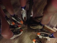 Five sporting new socks...2015--8th year at our annual skate night.