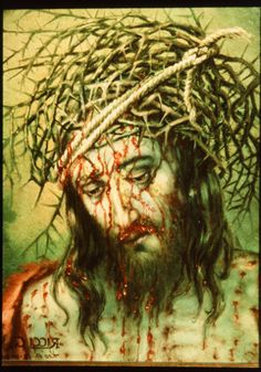Painting of Jesus of Nazareth crowned with thorns by Italian sindonologist, Monsignor Guilio Ricci Crucifixion Of Jesus, Jesus Painting, Holy Rosary, God Loves You, Our Lady, Gods Love, Altar, Crowns, Christ