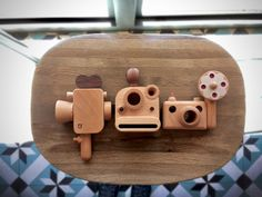 Wooden camera, kaleidoscopic lenses toy. Polaroid style. Hand made with walnut and breech wood with great craftsmanship. From www.fathersfactory.com