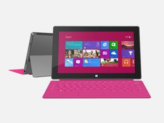 Microsoft Surface RT: The Microsoft Surface is running Windows 8 RT and has an option keyboard that doubles as a cover.