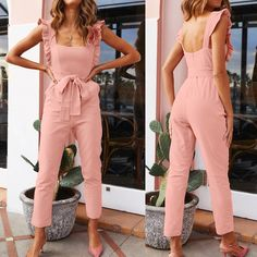 Womail Women 2019 Sexy Linen Jumpsuite - Aladdin's Box . Com Asos Jumpsuit, Jumpsuit Outfit, Dress Outfits, Fashion Dresses, Girl Outfits, Classy Outfits, Casual Outfits, Cute Outfits, Designer Jumpsuits