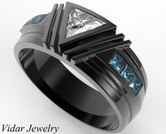 Black Gold Triangle Diamond Wedding Ring For A Men