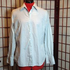 J. Crew Boyfriend Shirt Light blue button down tailored blouse with royal blue and green pin stripes. Excellent condition, no rips, stain or tears. 100% cotton. Machine washable. J. Crew Tops Button Down Shirts