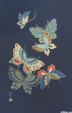 Cloisonne Butterflies - Noren Panel - Indigo/Gold