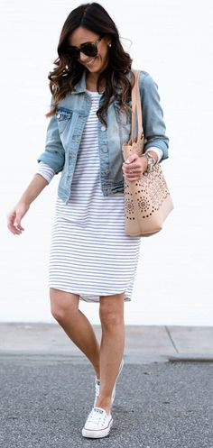 summer outfits Denim Jacket + Striped Dress + White Sneakers