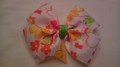 Frogs and Flowers are Fun Pinwheel Hair Bow by AmalieBowtique, $5.99
