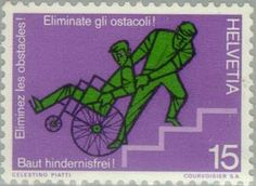 Wheelchair transport on stairs depicted in 1975 on a Swiss postage stamp.