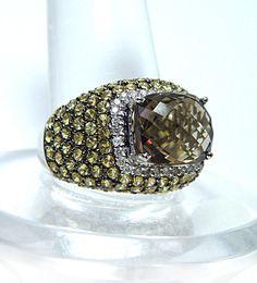 Huge 8ct Smokey Topaz Diamond Ring 18K White Gold Heavy Estate Jewelry VIDEO