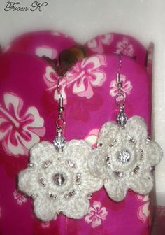 Beaded Crochet Dangle Earrings. For an elegant look. Light and strong. They are crocheted with pure white acrylic yarn and embroidered with Czech shiny clear seed beads. It is one of a kind piece and a beautiful addition to your jewelry collection. About 4 cm in diameter, and 5 cm long with the ear piece. 15.00 Ron Beaded Crochet, Crochet Earrings, White Acrylics, Pure White, Seed Beads, Jewelry Collection, Dangle Earrings, Dangles, Shops