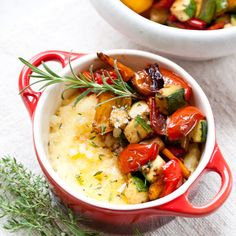 Roasted Vegetables and Parmesan Polenta (red, yellow and orange bell peppers, grape/cherry tomatoes, red onion, olive oil, zucchini, garlic, fresh thyme leaves, balsamic vinegar, polenta/coarse cornmeal, Parmesan cheese, butter)