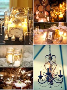 top left image: maybe for circular table with an orchid in the middle instead of a pumpkin and filled with water with 4 floating candles.
