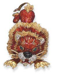 Smalt A GEM-SET LION brož, BY Frascarolo