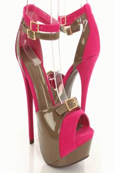 Fuchsia Faux Leather Suede Two Tone Peep Toe Platform Heels