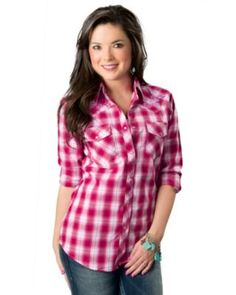 Cowgirl Hardware Women's Red and Pink Plaid with Purple Horseshoe Long Sleeve Western Shirt