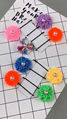 Diy Crafts Hacks, Diy Crafts For Gifts, Diy Home Crafts, Diy Crafts Videos, Yarn Crafts, Paper Crafts, Flower Crafts, Diy Flowers, Fabric Flowers