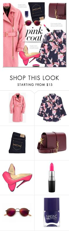 """Hey, Girl: Pretty Pink Coats"" by polly301 ❤ liked on Polyvore featuring J.Crew, Erdem, Abercrombie & Fitch, Yves Saint Laurent, Christian Louboutin, MAC Cosmetics, Ray-Ban, Nails Inc., Voz Collective and pinkcoats"
