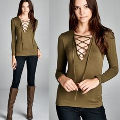 """Statue"" Lace Up Long Sleeve Top Lace up long sleeve top. Available in black, olive and red. This listing is for the OLIVE. Brand new. True to size but a snug fit. NO TRADES. Bare Anthology Tops Tees - Long Sleeve"