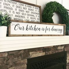 Our kitchen is for dancing | Kitchen Decor | Kitchen Sign | Kitchen Art | Wood Sign | Farmhouse Decor #farmhousekitchen #farmhousestyle #rustickitchen #rusticdecor #ad